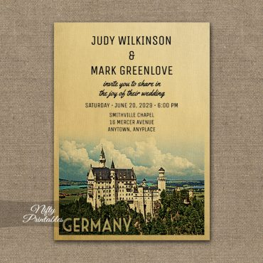Germany Wedding Invitation PRINTED