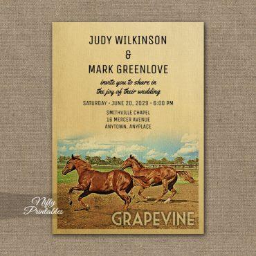 Grapevine Texas Wedding Invitation Horses PRINTED