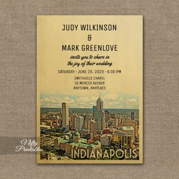 Indianapolis Indiana Wedding Invitation PRINTED
