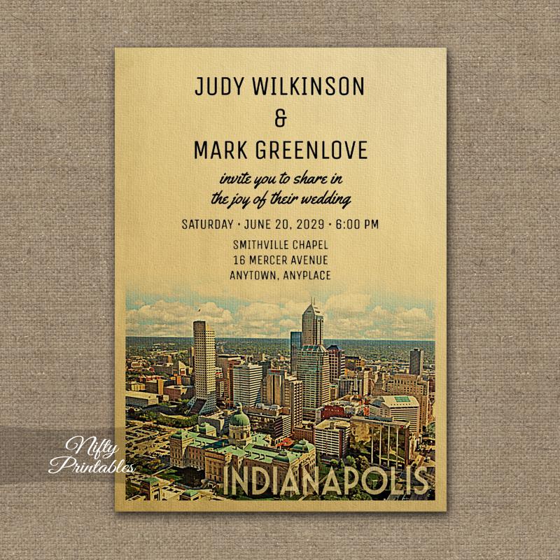 Wedding Invitations Indianapolis: Indianapolis Indiana Wedding Invitation PRINTED