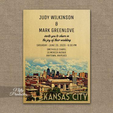 Kansas City Missouri Wedding Invitation Printed