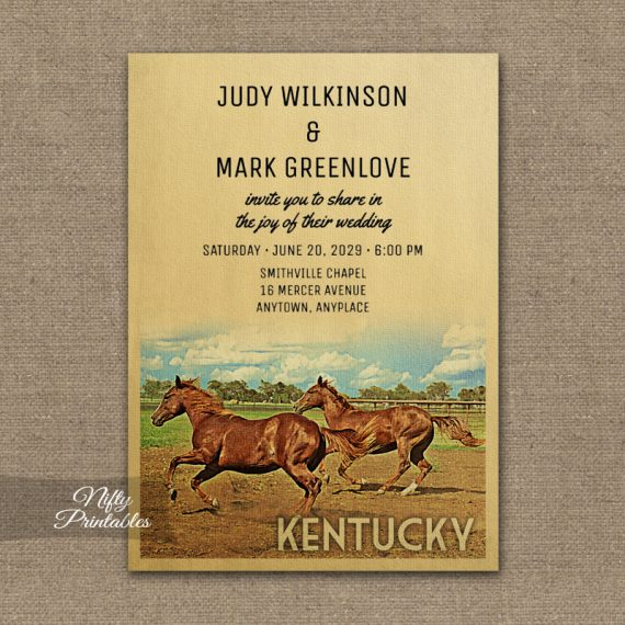 Kentucky Wedding Invitation Horses PRINTED