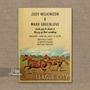 League City Texas Wedding Invitation Horses PRINTED