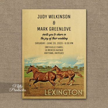 Lexington Kentucky Wedding Invitations Horses PRINTED