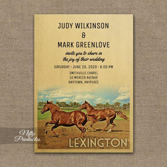 Lexington Kentucky Wedding Invitation Horses PRINTED