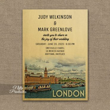 London Wedding Invitation PRINTED