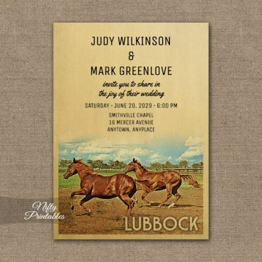 Lubbock Texas Wedding Invitations Horses PRINTED