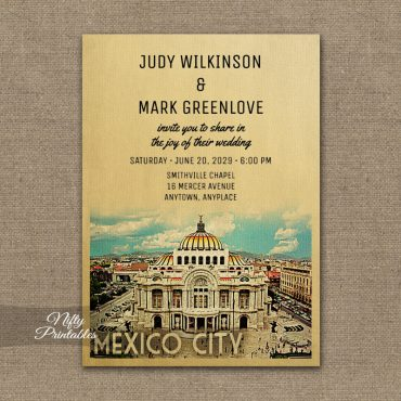 Mexico City Wedding Invitation PRINTED