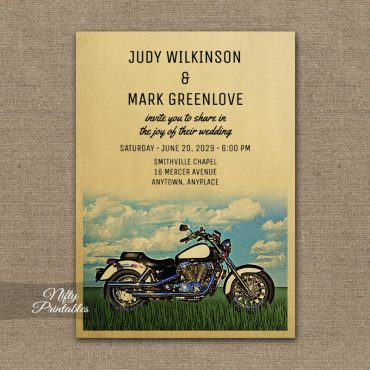 Motorcycle Biker Wedding Invitations PRINTED