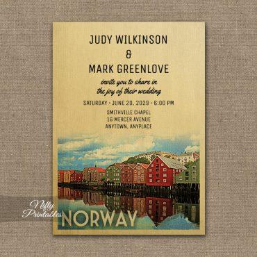 Norway Wedding Invitation PRINTED