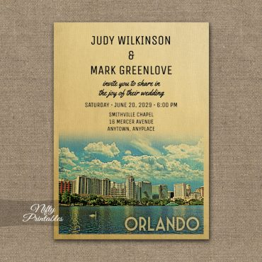 Orlando Florida Wedding Invitation PRINTED