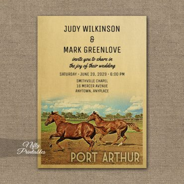 Port Arthur Texas Wedding Invitation Horses PRINTED