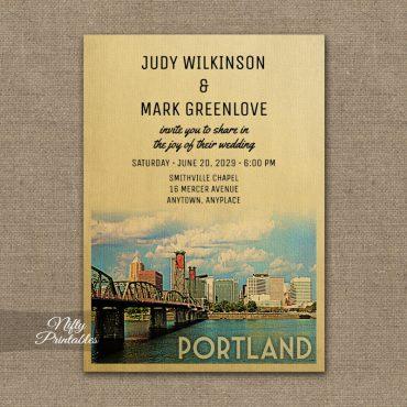 Portland Oregon Wedding Invitation PRINTED