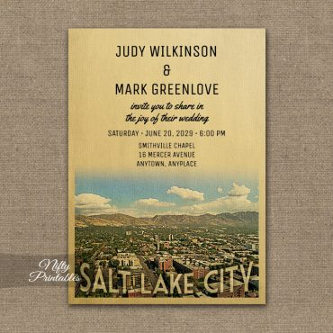 Salt Lake City Utah Wedding Invitation PRINTED