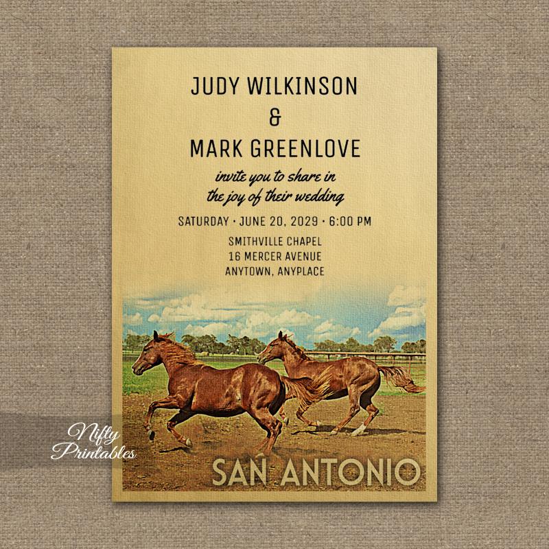 San Antonio Texas Wedding Invitation Horses PRINTED