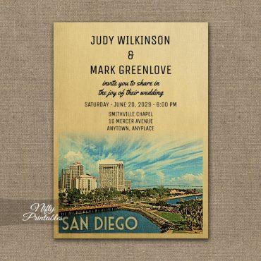 San Diego California Wedding Invitations PRINTED