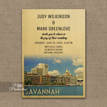 Savannah Georgia Wedding Invitation PRINTED
