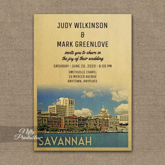 Savannah Georgia Wedding Invitation PRINTED