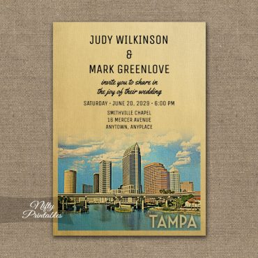 Tampa Florida Wedding Invitation PRINTED