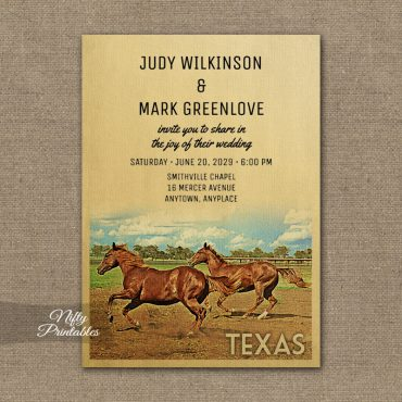Texas Wedding Invitation Horses PRINTED