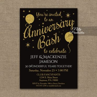 Anniversary Party Gold Balloons Invitation PRINTED
