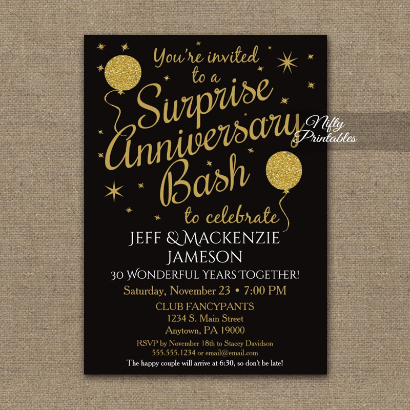 Surprise Anniversary Party Gold Balloons Invitation ...