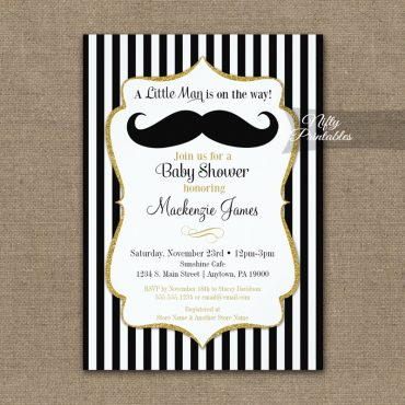 Mustache Baby Shower Invitation Black Gold PRINTED