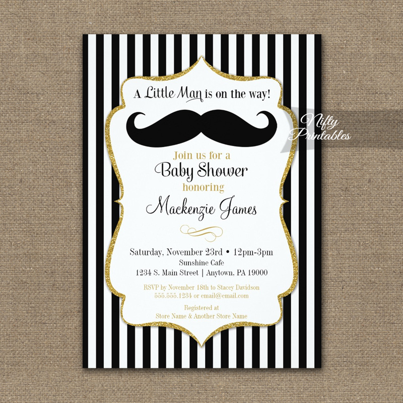 Mustache Baby Shower Invitation Black Gold PRINTED