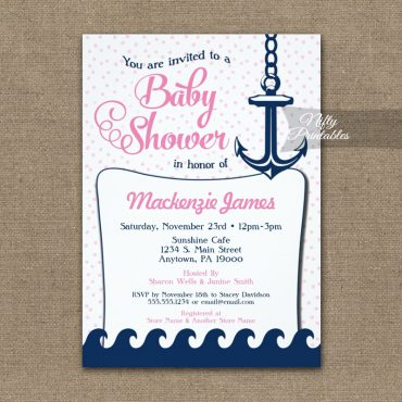Pink Nautical Baby Shower Invitation Retro PRINTED