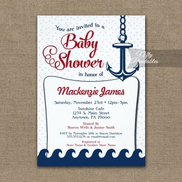 Nautical Baby Shower Invitation Retro PRINTED