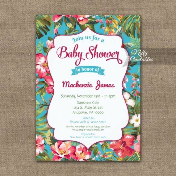 Tropical Floral Luau Baby Shower Invitation PRINTED