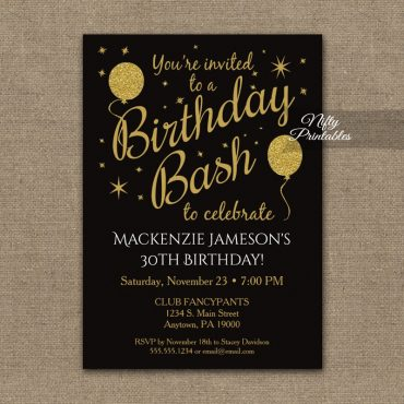 Birthday Party Gold Balloons Invitation PRINTED