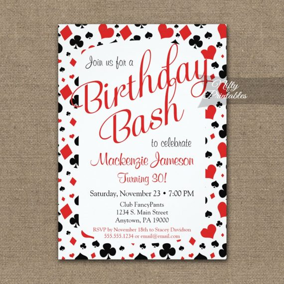 Casino Birthday Invitation Vegas Poker PRINTED