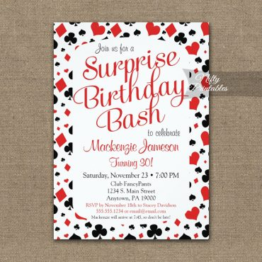 Casino Surprise Invitation Vegas Poker PRINTED