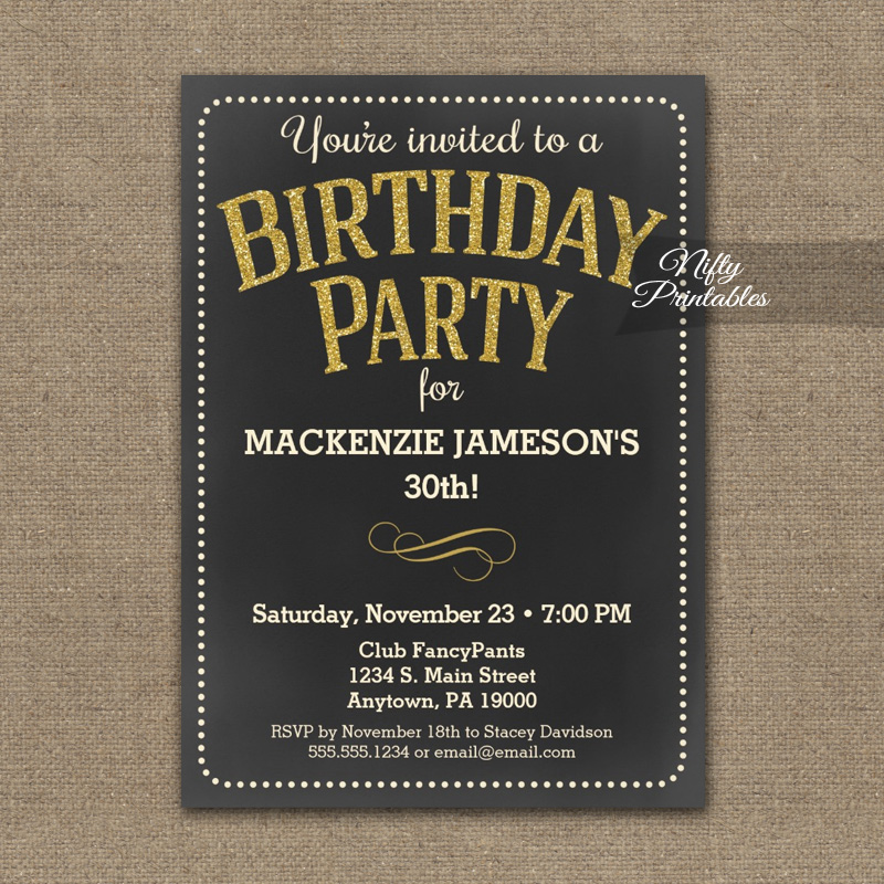 Chalkboard Birthday Invitation Gold PRINTED