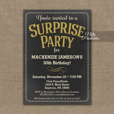 Chalkboard Surprise Invitation Gold PRINTED