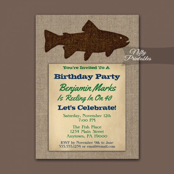Fishing Birthday Invitation Rustic Burlap PRINTED