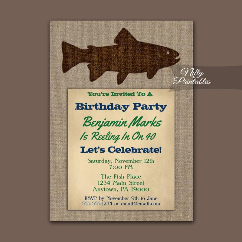 Fishing Birthday Invitation Rustic Burlap PRINTED