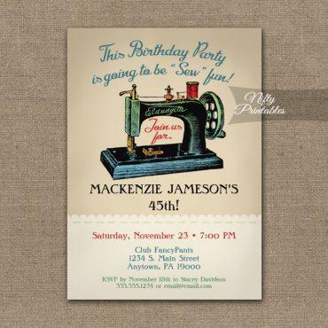 Sewing Birthday Invitations Sew Machine PRINTED