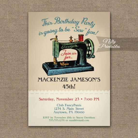 Sewing Birthday Invitation Sew Machine PRINTED