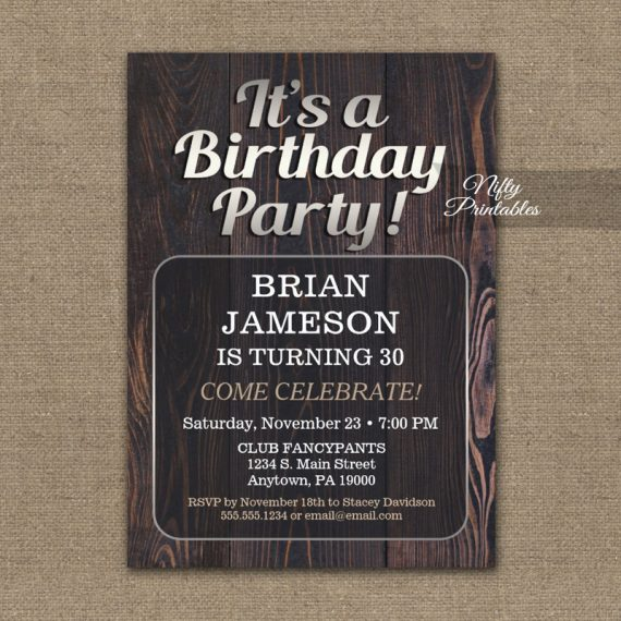 Mens Birthday Invitation Adult For Man PRINTED