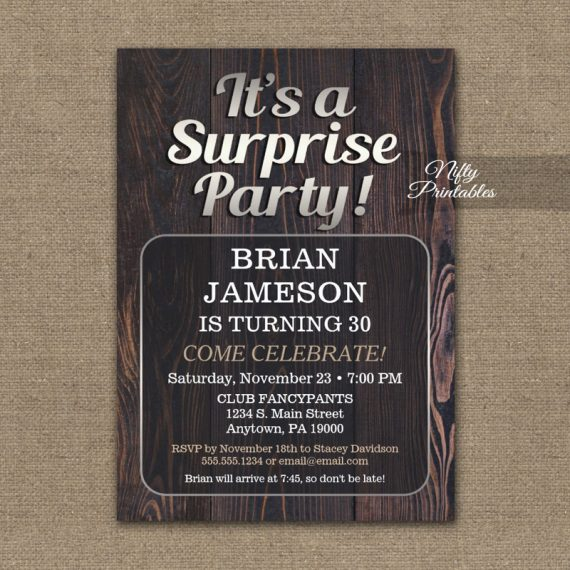 Mens Surprise Party Invitation Adult For Man PRINTED
