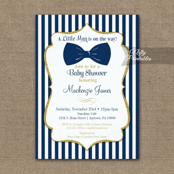 Bow Tie Baby Shower Navy Blue Gold Invitation PRINTED
