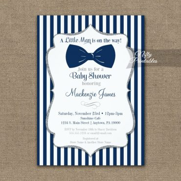 Bow Tie Baby Shower Navy Blue Silver Gray Invitation PRINTED