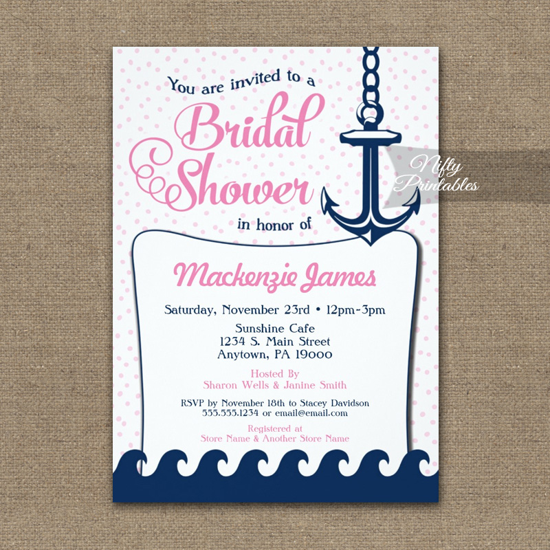 Pink Nautical Bridal Shower Invitation Retro PRINTED