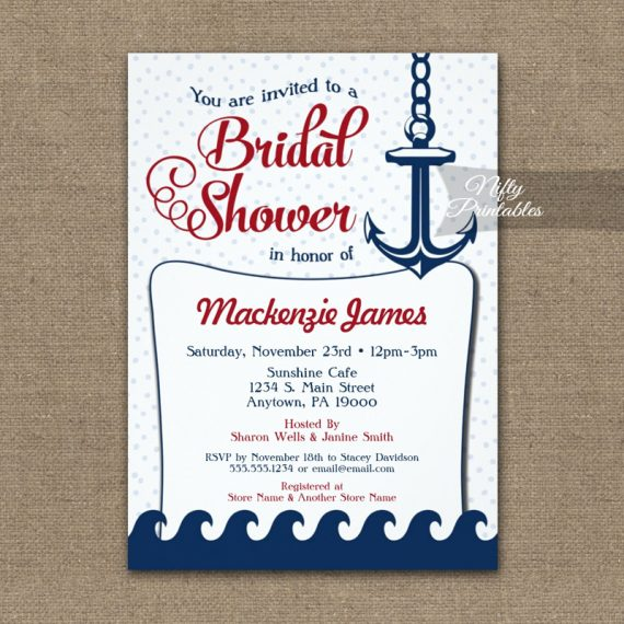 Nautical Bridal Shower Invitation Retro PRINTED