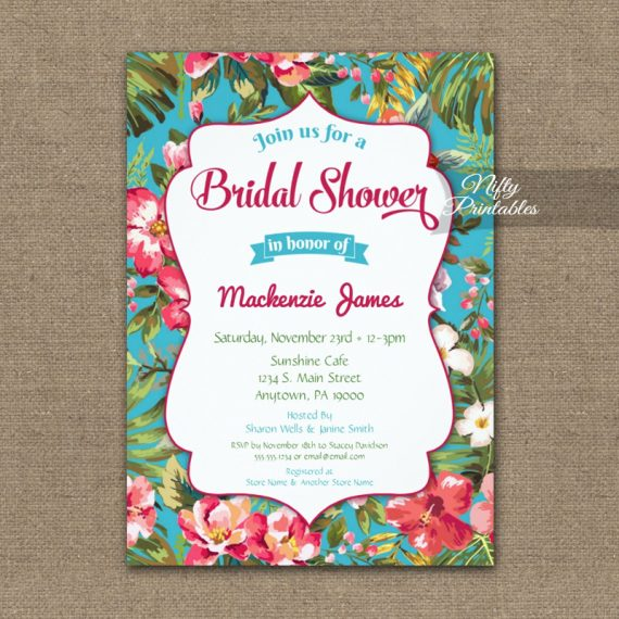 Tropical Floral Luau Bridal Shower Invitation PRINTED