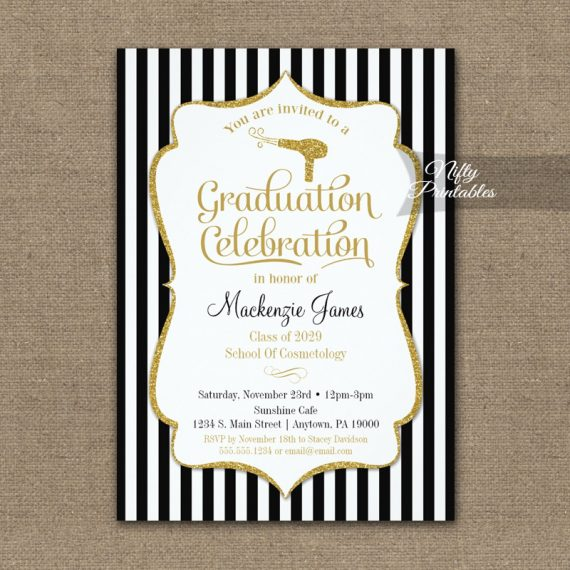 Cosmetology Graduation Party Invitation PRINTED