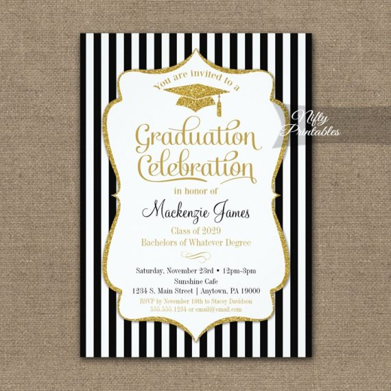 Elegant Graduation Party Invitation PRINTED