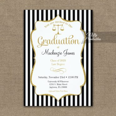Law School Graduation Announcement Invitations PRINTED